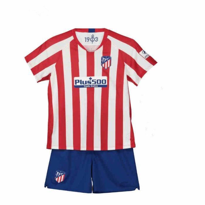 Atletico Madrid Maillot Domicile 2019 2020 Maillot de Foot Football Soccer(Top + Short)Kit Suit Pas Cher pour Enfant Garçon