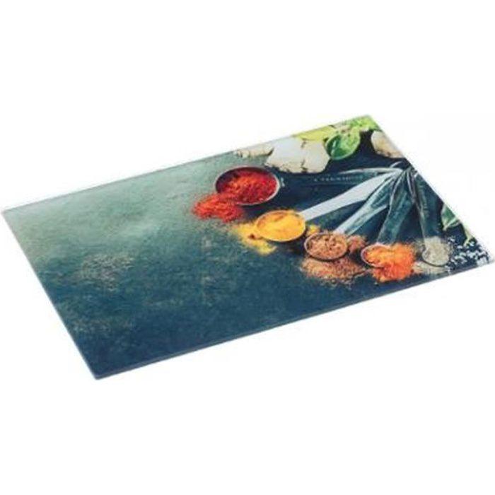 Planche à Découper Verre -Epices- 30x40cm Multicolore