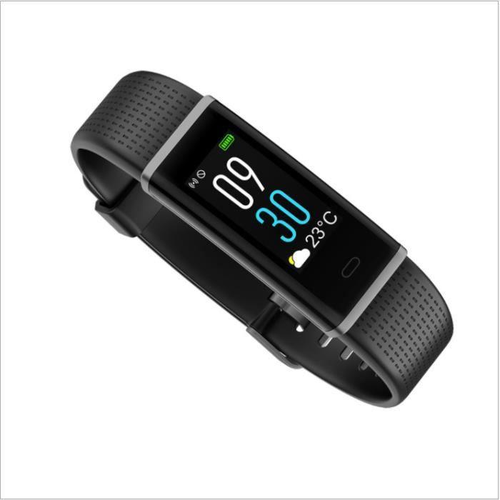 Bracelet intelligent détection dynamique de la fréquence cardiaque IP68 étanche véritable bracelet d'écran couleur intelligent noir