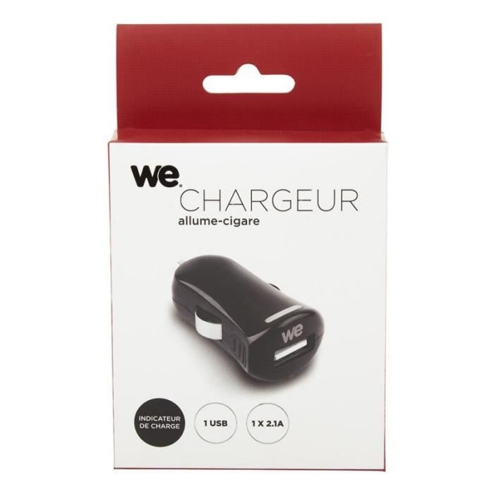 WE Chargeur allume-cigare USB 1 port - Format mini - Noir