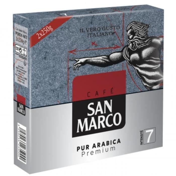 SAN MARCO Lot de 2 sachets Café moulu - Pur arabica - 250g