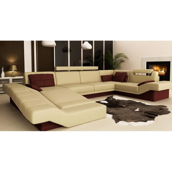 grand canape d 39 angle panoramique cuir beige et bordeau sydney achat vente canap sofa. Black Bedroom Furniture Sets. Home Design Ideas