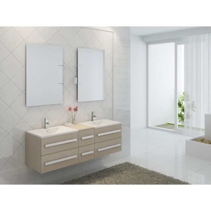 Interougehome ensemble de meubles de salle de bain en for Meuble lavabo double vasque