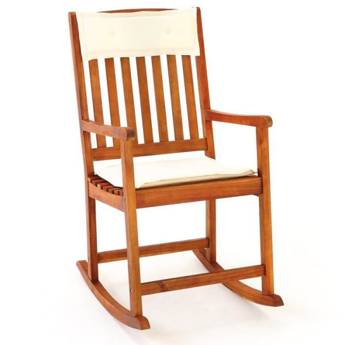 Chaise bascule bois rocking chair achat vente chaise for Chaise longue jardin a bascule
