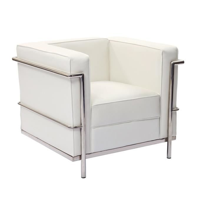lc2 fauteuil le corbusier blanc achat vente fauteuil. Black Bedroom Furniture Sets. Home Design Ideas
