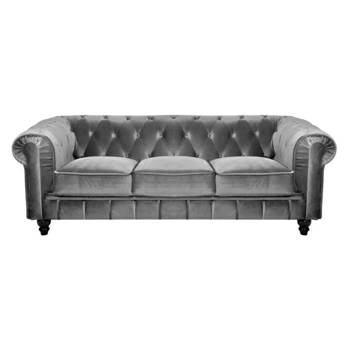 canap 3 places chesterfield tissu velours gris achat vente canap sofa divan tissu. Black Bedroom Furniture Sets. Home Design Ideas