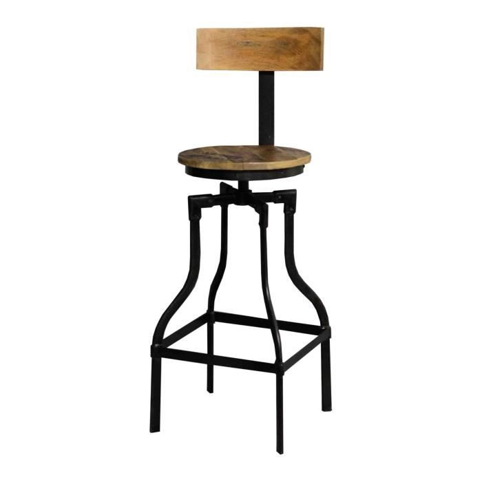tabouret de bar acacia massif fer noir achat vente tabouret cdiscount. Black Bedroom Furniture Sets. Home Design Ideas