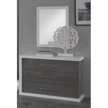 commode ancona laqu gris achat vente commode de chambre commode ancona laqu gris les. Black Bedroom Furniture Sets. Home Design Ideas