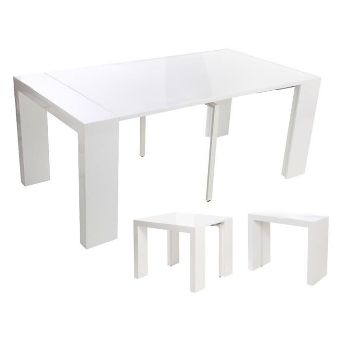 table console extensible elsa blanc laqu achat. Black Bedroom Furniture Sets. Home Design Ideas