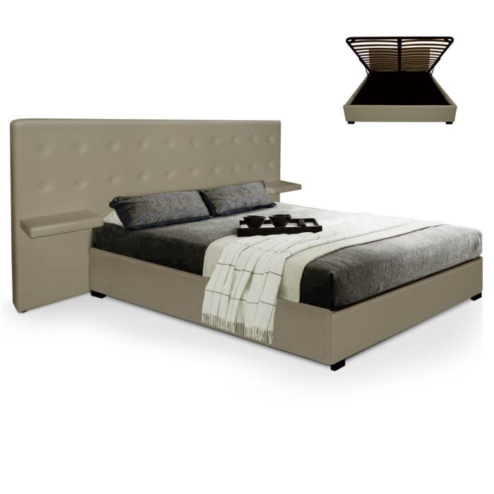 lit coffre sultan sommier 140cm taupe achat vente lit entier lit coffre sultan sommier. Black Bedroom Furniture Sets. Home Design Ideas