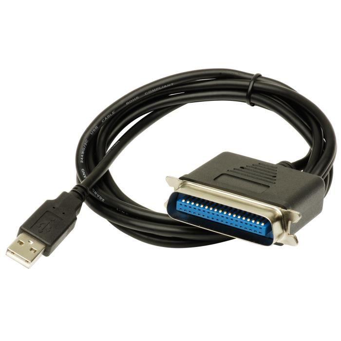 CÂBLE INFORMATIQUE MHP ® noir USB à parallèle Centronics C36 IEEE …