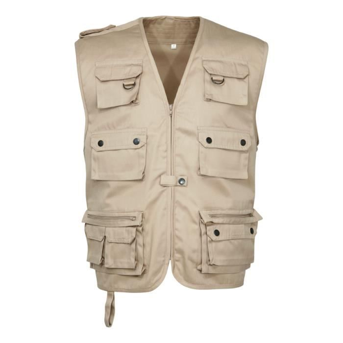 veste gilet reporter photo peche randonnee beige. Black Bedroom Furniture Sets. Home Design Ideas