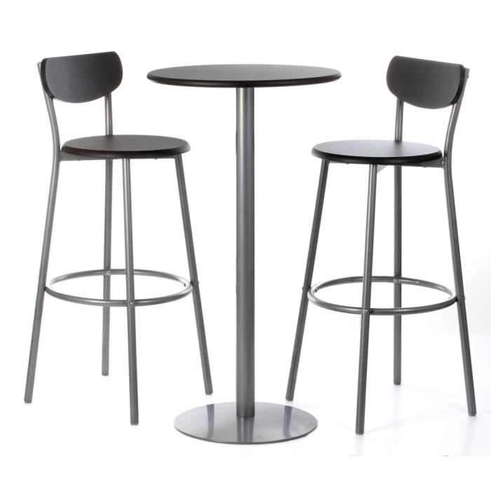 Ensemble table 2 chaises de bar noires ludo livr en for Achat table bar