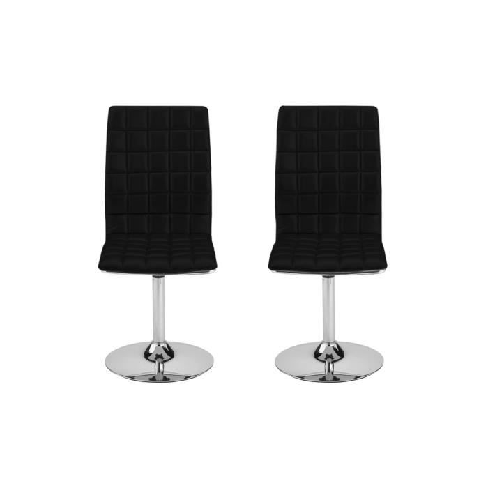 CHAISE Lot De 2 Chaises Pivotantes Noir ASHLEY