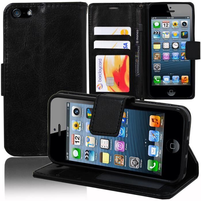 etui portefeuille apple iphone 5 5s noir