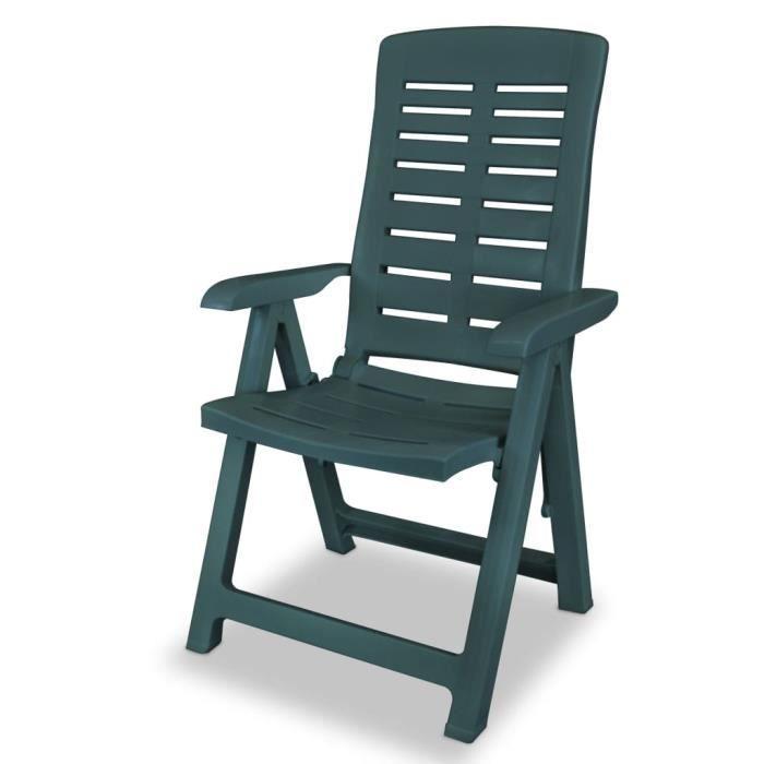 Chaise inclinable de jardin pliant 6 pcs 60x61x108 cm ...