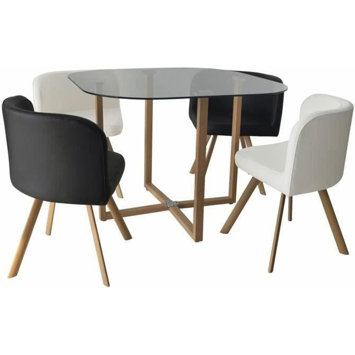 Ensemble table 4 chaises encastrable noir et blanc flen for Table cuisine encastrable