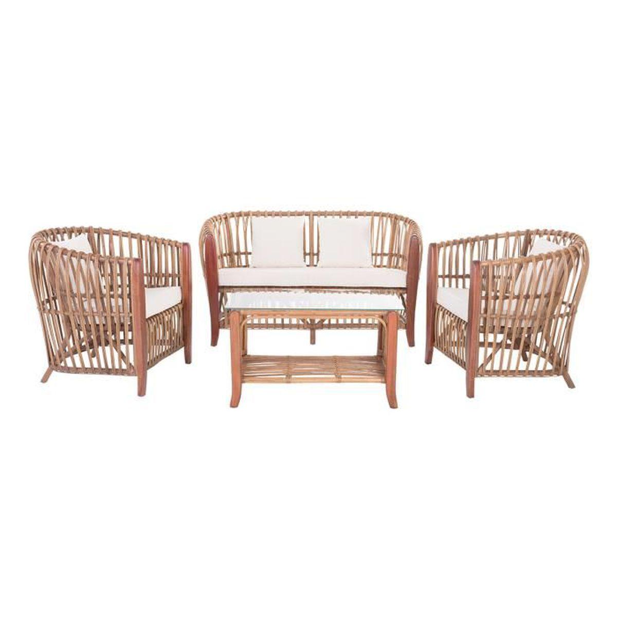 Salon de jardin bois Rotin-design
