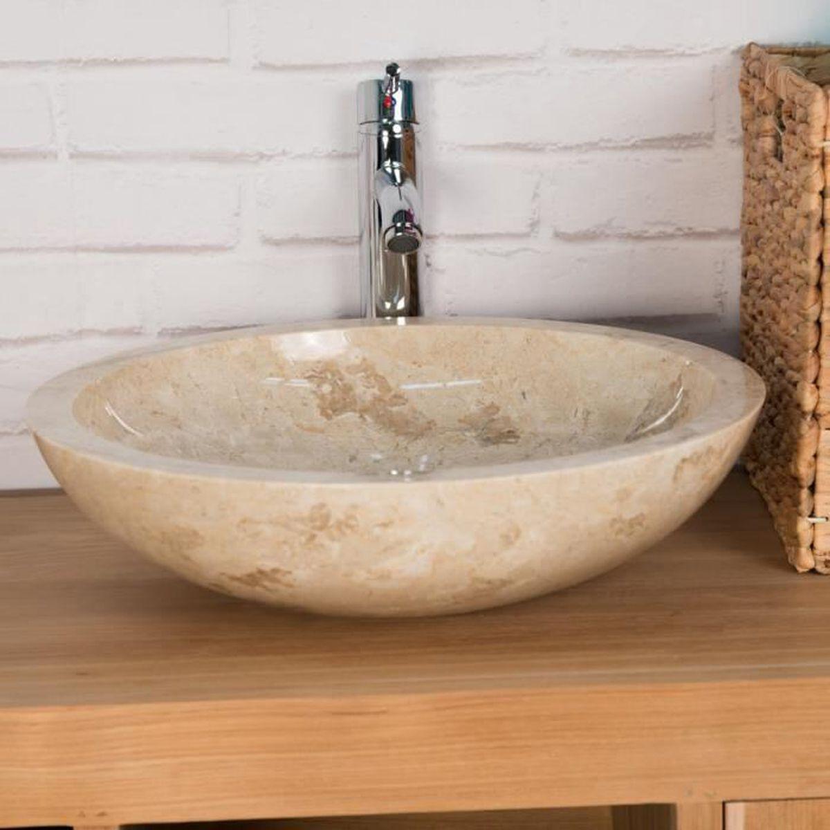 Vasque Ronde BARCELONE en marbre à poser colori crème - Diametre