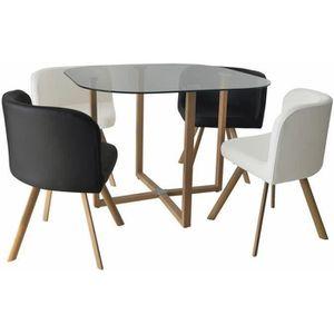 TABLE À MANGER COMPLÈTE ENSEMBLE TABLE + 4 CHAISES ENCASTRABLE NOIR ET BLA