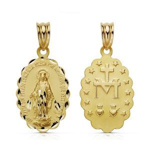 PENDENTIF VENDU SEUL Médaille pendentif Or 18 carats Vierge Miraculeuse