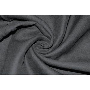 TISSU Tissu 100% Lin Uni Noir -Au Mètre