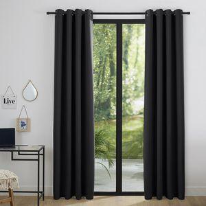 RIDEAU Lot de 2 rideaux occultant noir 140 x 260 cm - 224