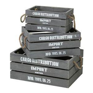 CASIER POUR MEUBLE CASAME Lot de 3 caisses en bois avec poignées en c