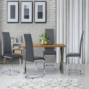 CHAISE Lot de 4 chaises Mia grises pour salle à manger
