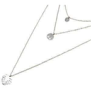 SAUTOIR ET COLLIER CC2321F - Collier Triple Fine Chaîne avec Cercle A