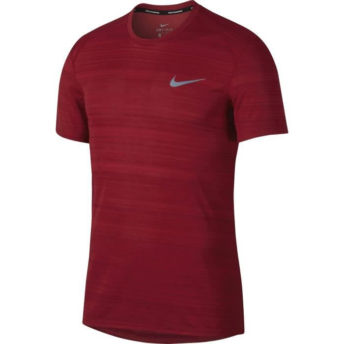 NIKE T-Shirt manches Courtes Dry Miler - Homme - Rouge