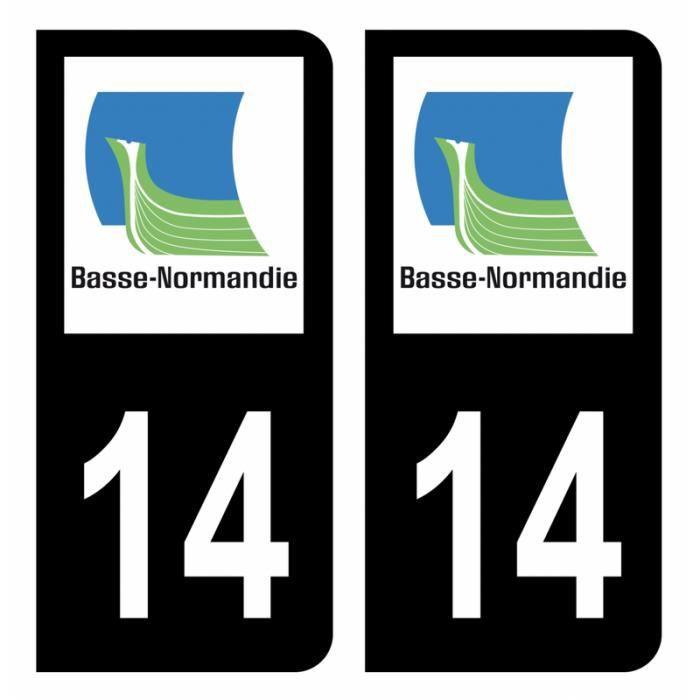 Autocollant Stickers plaque d'immatriculation voiture département 14 Calvados Logo Ancienne Région Basse-Normandie Noir Couleur