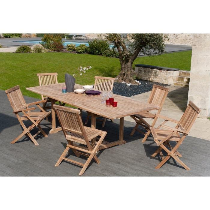 Ensemble en teck massif table extensible de jardin 180 - 240 cm + 4 chaises et 2 fauteuils