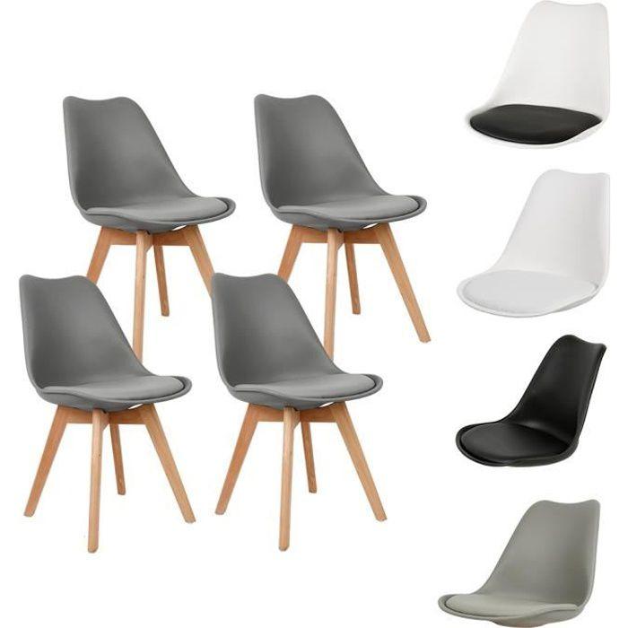 Lot de 4 Chaises Scandinave Design Chaises de salle à manger en polypropylène Et pieds en bois massif,Gris foncé