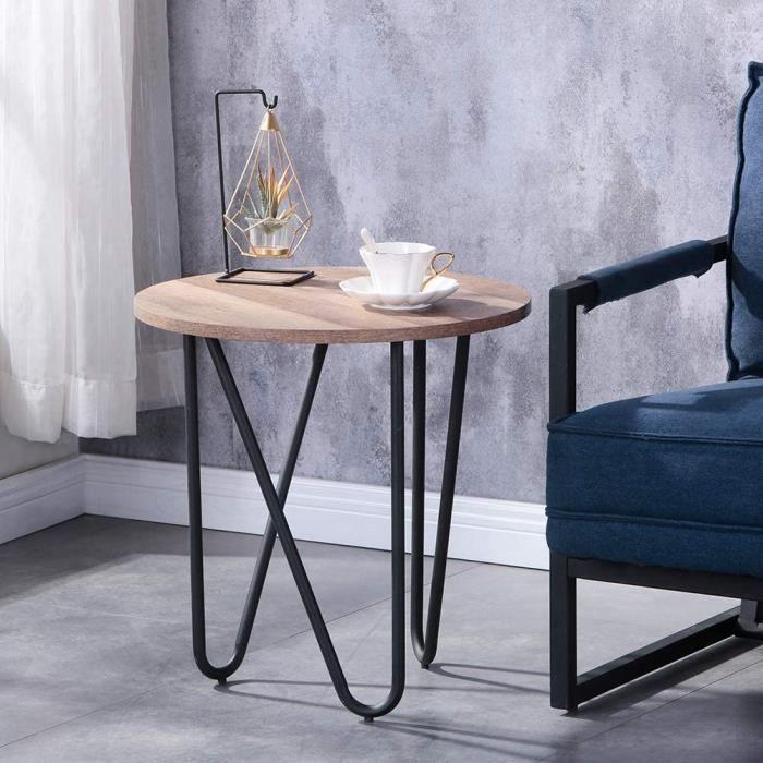 Bout de Canap Ronde Petite Table d 'appoint Bois Design Table Basse de Salon 50x50x50cm[535]
