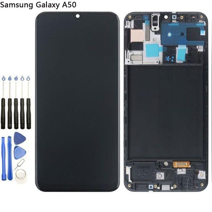 complet écran LCD Samsung Galaxy A50 A505 AMOLED +vitre tactile Châssis Déverrouillage d'empreintes digitales+Kit outils+Colle B7000
