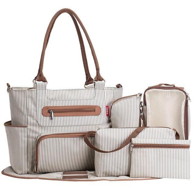 7 pièces de sac à couches de grande capacité - ensemble de sac à couches, sac de voyage pour bébé et ceinture de poussette