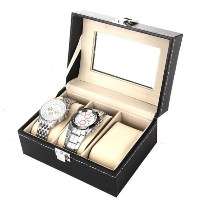 3 cas de boîte de montre en cuir pour le stockage unisexe d'organisateur de bijoux d'affichage de poignet miettelove 4846 llyyll