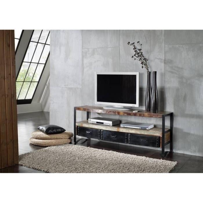 Meuble TV 145x43cm - Fer et bois massif recyclé laqué (multicolore) - INDUSTRIAL #05