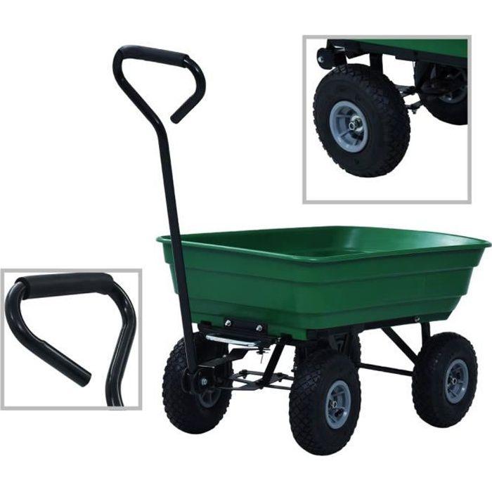 Chariot de Transport à main, Chariot de Plage, Remorque pour Jardin Plage- 300 kg 75 L Vert
