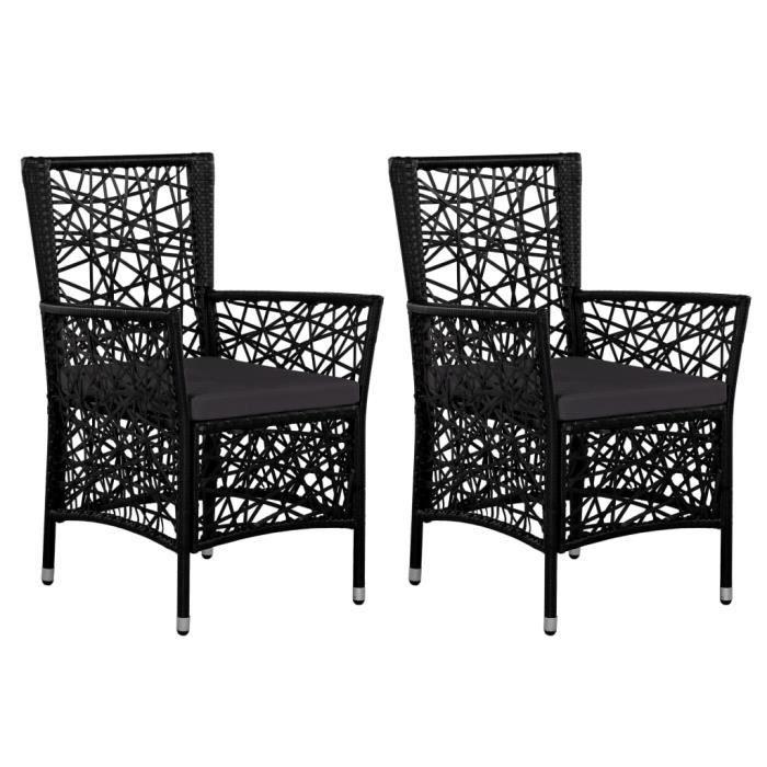2 pcs Chaises d'extérieur avec coussins Résine tressée Noir - 58 x 61 x 88 cm