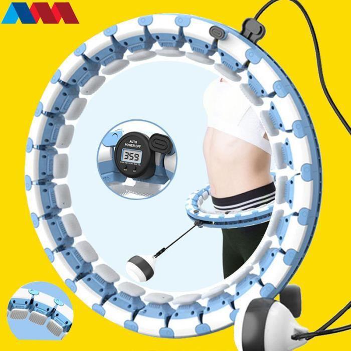 Cerceau Fitness Smart Hula Hoop Adulte Enfant 24 N?uds Amovibles Fitness Pneu Massage Intelligent Pondéré-Bleu