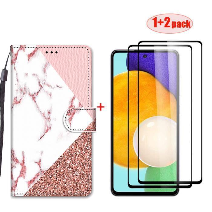 2 Pack protecteur d'écran et Cuir Étui pour Xiaomi Redmi Note 10 5G Peint Housse Haut de gamme Protection - Coutures en marbre