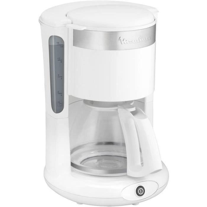 MOULINEX cafetières filtre PRINCIPIO PLUS Blanche 10/15 tasses cafetière électrique Cafetière Machine à café Capacité 1.25L Antigo
