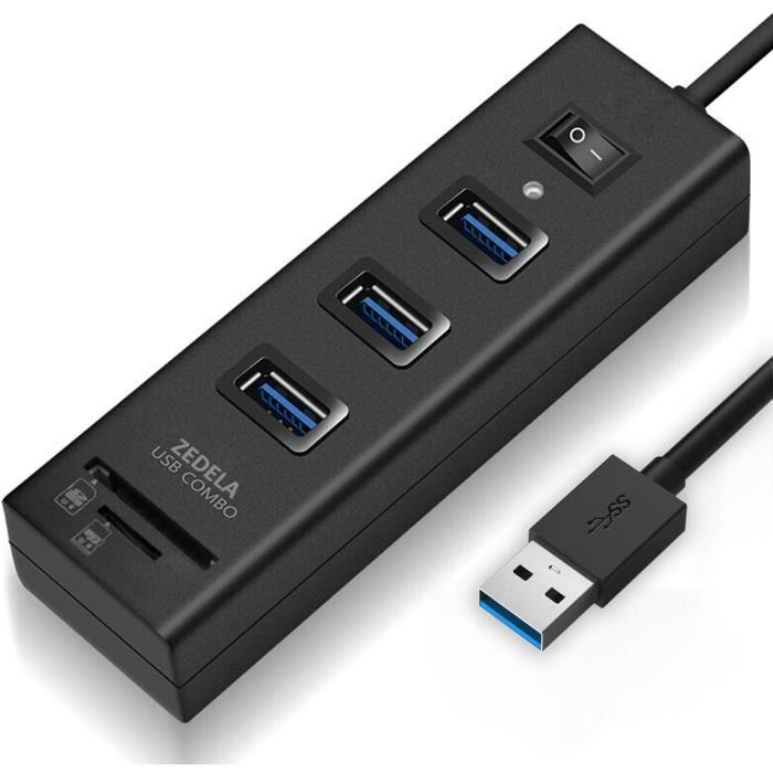 ADAPTATEUR CARTE MEMOIRE Hub USB 3.0 avec Lecteur de Carte microSD + logement SD, 3 Ports USB 3.0, pour Macbook Air, MacBook Pro166