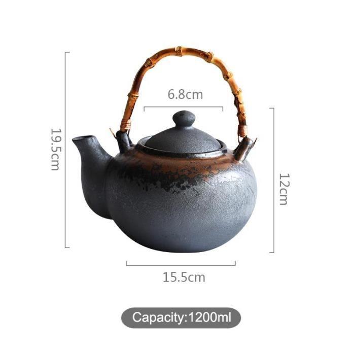 Théières,Théière de Style japonais Zen noir 1000-1200ml, bouilloire Vintage en céramique, théière de grande - Type B(Teapot)