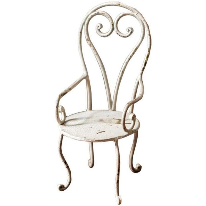 Mini Chaise planteur, Blanc, Support de Pot de Fleur Fer métal Petites Plantes Stand Tabouret Chaise pour Jardin intérieur extérieur