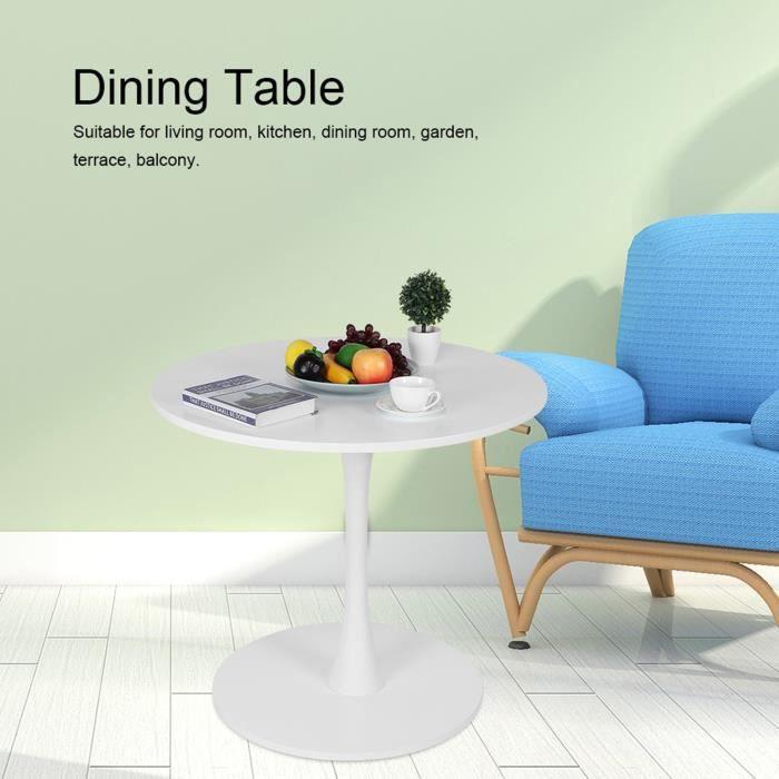 Table ronde Table à manger ronde moderne Tables à thé pour salon Cuisine Jardin Terrasse Patio (Blanc) -HB065