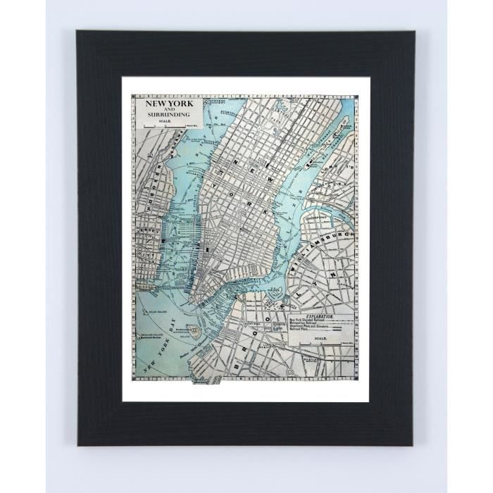Image encadrée New York Map - 57 x 77 cm
