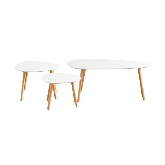Tables gigognes laquées blanc - Lot de 3 - CaliCosy Blanc